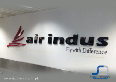 Air Indus 3D Sign at Karachi and Lahore Airports