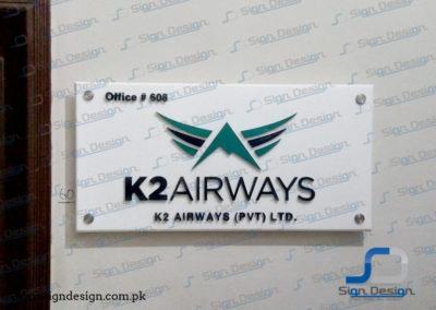 K2 Airways Sign