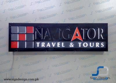Navigator Travel & Tours 3D Backlit Sign
