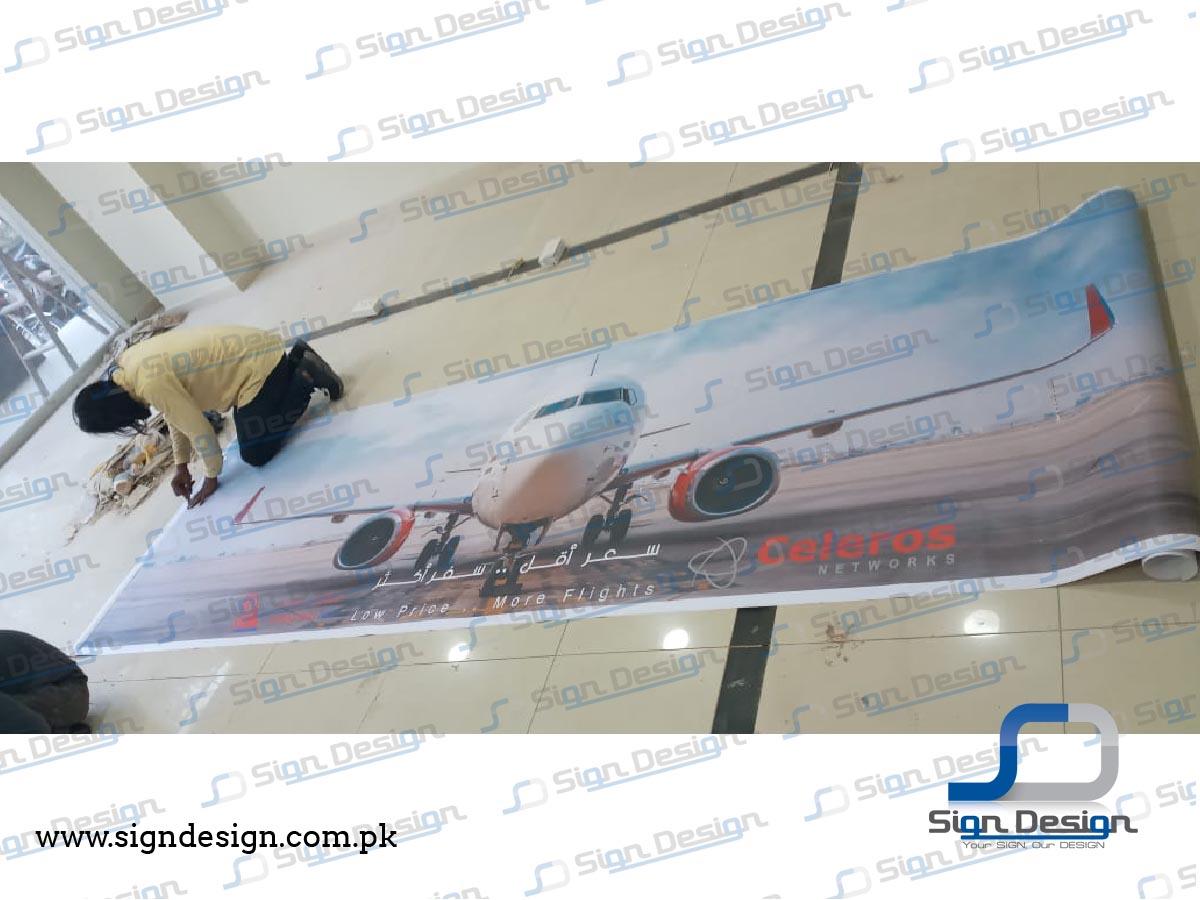 fly baghdad indoor vinyl branding