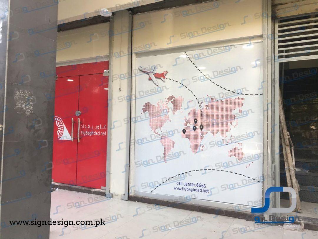 Fly Baghdad Office Branding Karachi Branch